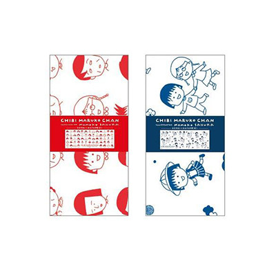 ちびまる子ちゃん 原作デザイン 日本手ぬぐい(まる子&仲間)赤・青 商品画像